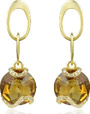 Citrine And Diamond 18k Gold Earrings