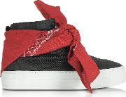 Black Nylon High Top Bandana Sneakers