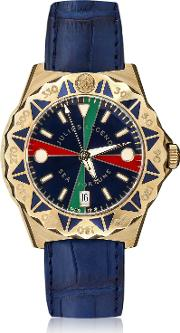 Sea Fortune 18k Gold And Leather Watch