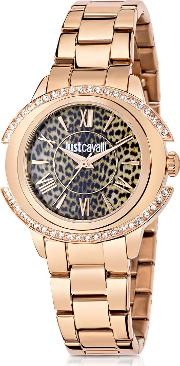 Just Decor Rose Gold Tone Stainless Steel Women's Watch