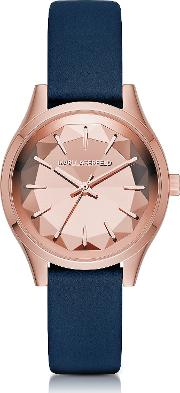 Janelle Rose Gold Tone Pvd Stainless Steel Women's Quartz Watch Wblue Leather Strap