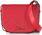 Ksignature Fire Red Quilted Leather Shoulder Bag