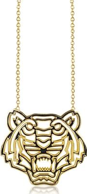 Gold Plated And Black Lacquer Tiger Head Necklace