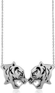 Kenzo Necklaces, Rhodium Silver And Black Lacquer Fighting Tiger Necklace