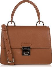 Garance Cognac Leather Top Handle Shoulder Bag