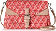 Ikon Red & Nude Coated Canvas And Leather Mini Clutch