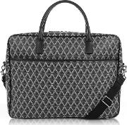 Ikon Black Coated Canvas Men's Briefcase