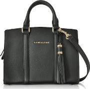 Mademoiselle Ana Black Leather Small Satchel Bag