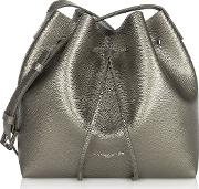 Pur & Element Metallic Saffiano Leather Small Bucket Bag