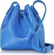Pur Smooth Blue Leather Mini Bucket Bag
