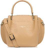 Two Tone Leather Double Handles Satchel Bag