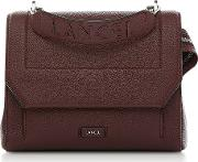 Black Currant Leather Ninon Medium Flap Bag