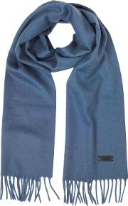 Solid Wool Long Scarf Wfringes