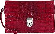 Cherry Croco Embossed Leather Clutch