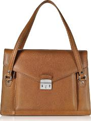 Double Compartment Calf Leather Women's Briefcase