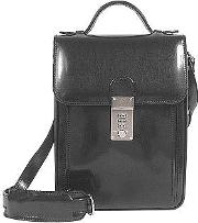 Black Leather Vertical Briefcase
