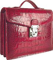 Cherry Croco Embossed Double Gusset Compact Briefcase