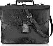 L.a.p.a. Briefcases, Classic Black Leather Briefcase