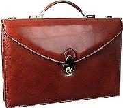 Classic Cognac Leather Briefcase