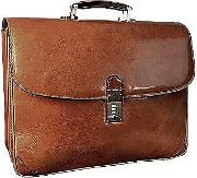 Classic Sand Leather Briefcase