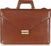 Double Gusset Leather Briefcase