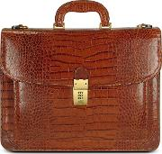 Men's Front Pocket Croco Stamped Italian Leather Briefcase