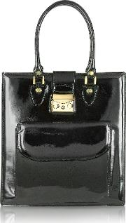 L.a.p.a. Handbags, Black Patent Leather Tote Bag