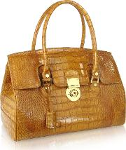 Camel Croco Stamped Genuine Leather Satchel Bag