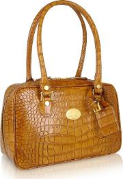 L.a.p.a. Handbags, Camel Croco Stamped Italian Leather Shoulder Bag