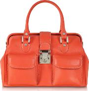 Deep Orange Leather Doctor Bag