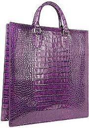 L.a.p.a. Handbags, Violet Croco Large Tote Leather Handbag Wpouch