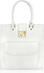 White Croco Stamped Leather Tote Bag