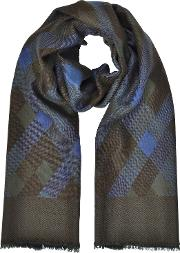 Diamond Printed Wool, Silk And Cashmere Long Scarf