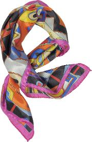 Pink And Multicolor Floral & Geometric Print Satin Silk Bandana