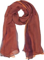 Burgundy And Orange Double Chiffon Silk Stole