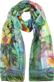 Laura Biagiotti Long Scarves, Emerald Green Tropical Printed Chiffon Silk Stole