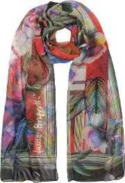 Purple Tropical Printed Chiffon Silk Stole