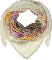 Beige Leopard And Flowers Print Silk Shawl