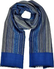 Stripes Printed Wool, Silk And Cashmere Long Scarf