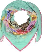 Turquoise Leopard And Flowers Print Silk Shawl