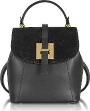 Palazia Black Suede And Leather Small Backpack