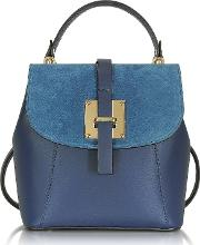 Palazia Midnight Blue Suede And Leather Small Backpack