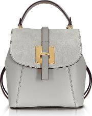 Le Parmentier Handbags, Palazia Pearl Gray Suede And Leather Small Backpack
