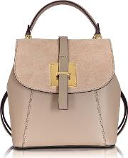 Le Parmentier Handbags, Palazia Taupe Suede And Leather Small Backpack