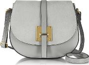 Pollia Pearl Gray Leather And Suede Crossbody Bag