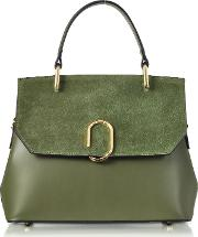 Thais Suede And Leather Satchel Bag
