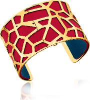 Giraffe Gold Plated Bracelet Wred And Petrol Blue Reversible Leather Strap