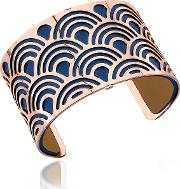 Poisson Rose Gold Plated Bracelet Wnavy Blue And Beige Reversible Leather Strap