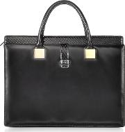 Anniversary Black Ayers And Leather Tote