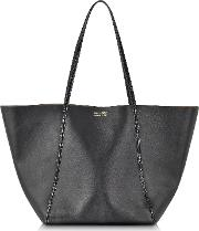 Black Ayers And Calf Leather Tote